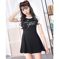 "Black ""Screw You"" Printed T-shirt Dress"