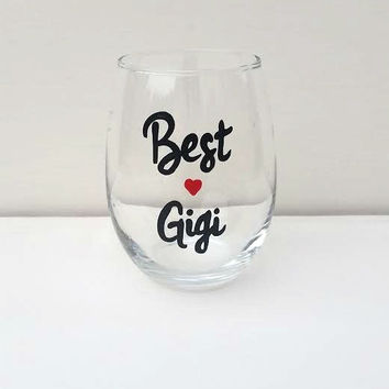 Best Gigi Hand-painted stemless wine glass
