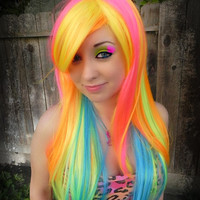 SHOP-WIDE SALE Neon Burst / Pink, Orange, Yellow, Lime, Aqua / Long Straight Layered Wig