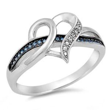 Sterling Silver Blue and White CZ Infinity Heart Ring
