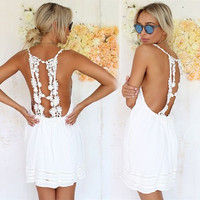 Sexy Women Summer Casual Sleeveless Backless Cocktail Short Mini Dress TOPS = 5738222849