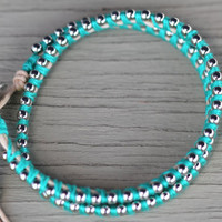 Wrap Bracelet : Adjustable Silver Ball Chain Wrap Bracelet with Teal Cotton Thread and Natural Cotton Cord, Brushed Button Closure, Mint