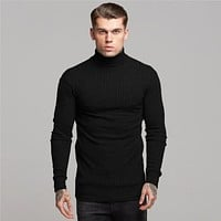 Fashion Men'S T-Shirt Sweater O-Neck Slim Fit Knittwear Mens Long Sleeve Pullovers Tshirts Men Fitness Pull Homme
