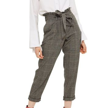 Topshop Pow Check Mensy Ruffle Trousers | Nordstrom