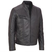 Kenneth Cole Faux Leather Jacket Banded Cuffs