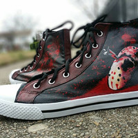 Friday the 13th Jason Hand Painted Canvas Lace Up High Top Shoes