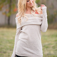 Blissful Off the Shoulder Long Sleeve Top (Taupe)