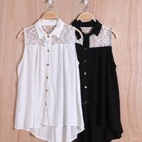 High Low Sleeveless Button Down with Lace Design in Black/White from Black Velvet Boutique