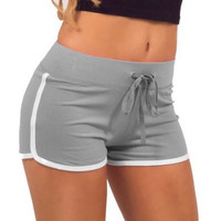 Womens Grey and White Casual Elastic Sport Shorts