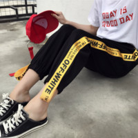 OFF WHITE Yellow letter stripe casual sweatpants