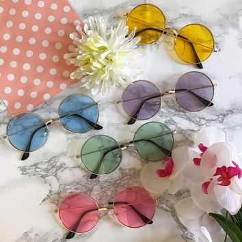 Candy Colored Circle Sunglasses Round Hippie Glasses - Lennon