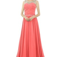 Dressy New Star Beaded Straps Bridesmaid Prom Dresses Formal Long Evening Dress Coral US2