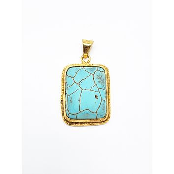 Turquoise Rectangle Pendant | 925 Sterling Silver Rose Gold,White Gold,14K Gold Green