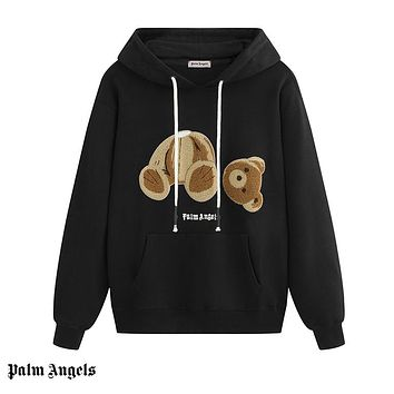 Palm Angels fashion decapitated teddy bear hoodies are hot for sale as casual hoodies for couples Black