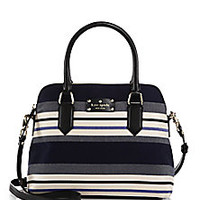 Kate Spade New York - Grove Court Striped Cotton & Leather Satchel - Saks Fifth Avenue Mobile