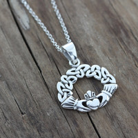 Gorgeous Celtic necklace, Claddagh Necklace With Trinity knot design, Sterling Silver Jewelry, Irish Jewelry, friendship symbol . 678.