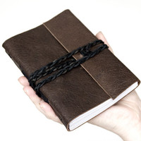 Leather journal, leather notebook, travel journal, travel notebook, leather diary sketchbook, hand bound blank book brown