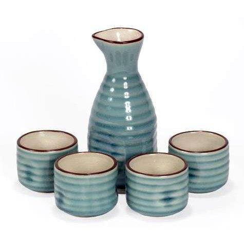 Image of Sake Set - 5 Pieces - Blue - Wood Gift Box With Lid