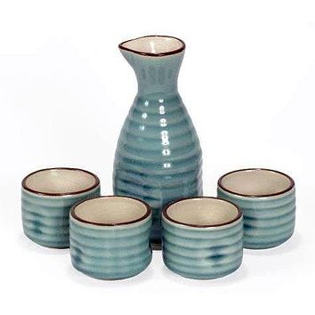 Sake Set - 5 Pieces - Blue - Wood Gift Box With Lid