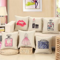 Fashion Home Waist Cushion Print Cotton Linen Square Pillow Cover Case
