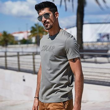 Army Green Contracted Embroidery T-Shirt