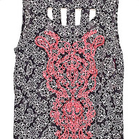 Embroidered Medallion Print Woven Tank