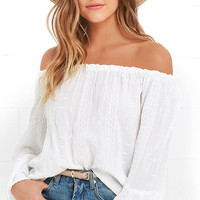 Looking Forward Ivory Off-the-Shoulder Embroidered Top