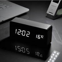 Big Grace White LED wooden Board alarm clock+ Big Temperature thermometer voice activated,Battery/USB power /luminova home decor