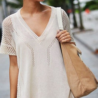 Loose Knit V-Neck Beach Cover Up