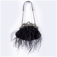 Black Feather Bag with Chain Standard