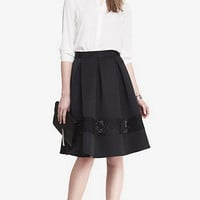 HIGH WAISTED LACE INSET MIDI SKIRT from EXPRESS