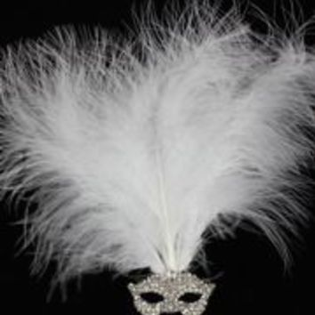 2in Wide x 1in Tall Silver Rhinestone Mask w/ White Feathers Brooch/ Pin