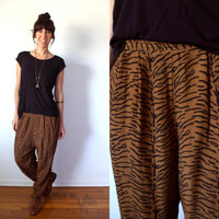 Tiger Print Slouchy Harem Pants Animal Print Pleated Trousers