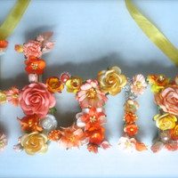"Floral Wall Decor - Peach and Yellow Handmade Mulberry Flowers - Wooden ""Home"" Wall Sign"