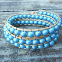 Spring Beaded Leather 3 Wrap Bracelet with Turquoise Beads on Natural Tan Leather