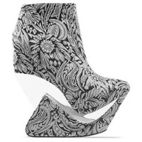 Jeffrey Campbell Zoom in Black Gold Floral Fabric at Solestruck.com
