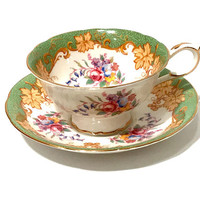 Paragon Tea Cup And Saucer, Floral Bouquet, Pink Blue Yellow Red Flowers, Grape Leaves, Green Border, English Bone China, 1930s Vintage