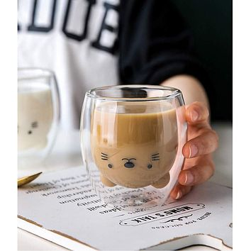 Cute Double Layer Glass Cup