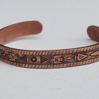 Vintage Copper Cuff Bracelet with Native American Arrows, Birds and Designs Indian Southwestern Tribal Theme Jewelry, Free Shipping in USA