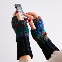 Fingerless gloves in dark shades and black, Dianthe, for women and teenagers, winter fashion