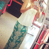 Darling in Damask Maxi Skirt: Mint