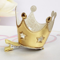 Gold + Silver Star Princess Crown Clip