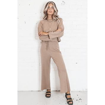 We Go Together Taupe Ribbed Two Piece Set