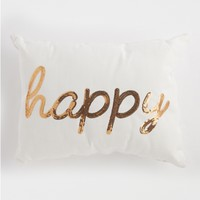 Happy Sequined Throw Pillow