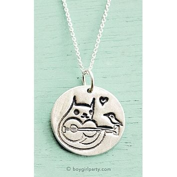Silver Cat Guitar Necklace