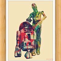 """THE AMBIGUOUSLY DROiD DUO (R2d2 & C3pO of STaR WaRS) 8x10"""" Digital Illustration High Gloss Print by MoPS"""