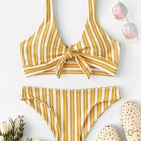 Random Striped Knot Front Bikini Set
