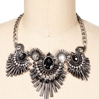 Burnt Silver Two Tone Statement Necklace