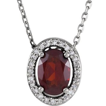 "14K White Gold Oval Mozambique Garnet & .05 CTW Diamond Halo 16"" Necklace"