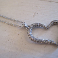 Silver Heart Necklace -Silver Rhinestone Heart Necklace - Gifts - Valentine's Day Jewelry
